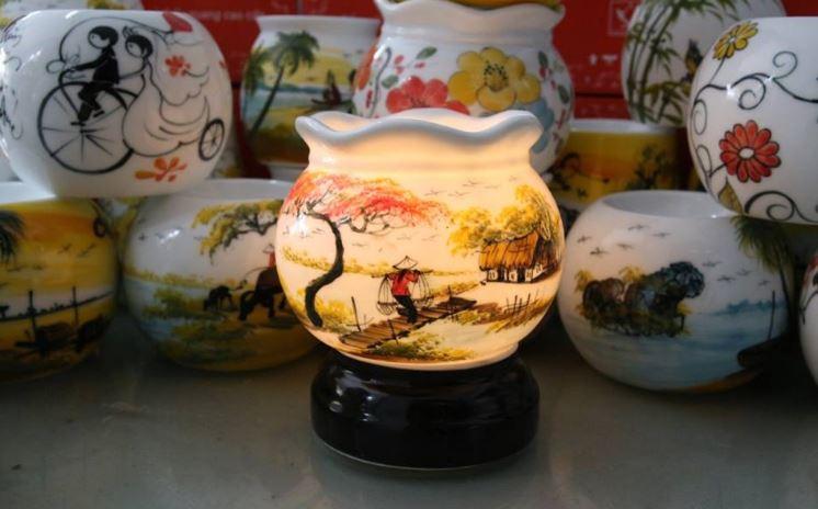 Đèn xông tinh dầu gốm thấu quang Bát Tràng