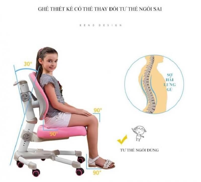 (chú thích ảnh: Ghế chống gù kết hợp tạo lên tư thế ngồi chuẩn cho bé)